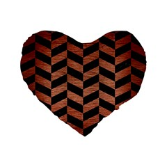 Chevron1 Black Marble & Copper Brushed Metal Standard 16  Premium Flano Heart Shape Cushion  by trendistuff