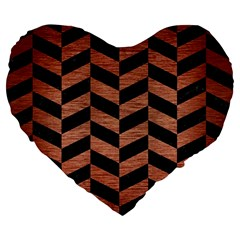 Chevron1 Black Marble & Copper Brushed Metal Large 19  Premium Flano Heart Shape Cushion by trendistuff