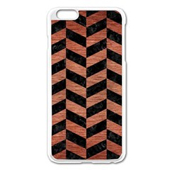 Chevron1 Black Marble & Copper Brushed Metal Apple Iphone 6 Plus/6s Plus Enamel White Case