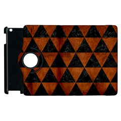 Triangle3 Black Marble & Brown Burl Wood Apple Ipad 2 Flip 360 Case by trendistuff