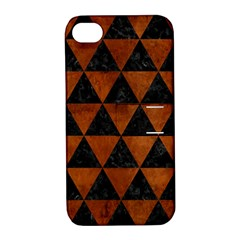 Triangle3 Black Marble & Brown Burl Wood Apple Iphone 4/4s Hardshell Case With Stand by trendistuff