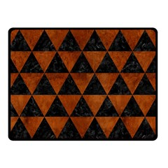 Triangle3 Black Marble & Brown Burl Wood Double Sided Fleece Blanket (small) by trendistuff