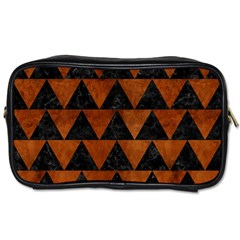Triangle2 Black Marble & Brown Burl Wood Toiletries Bag (two Sides) by trendistuff