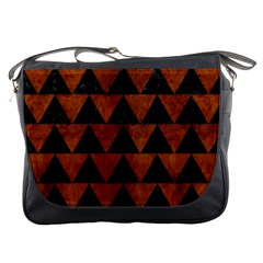 Triangle2 Black Marble & Brown Burl Wood Messenger Bag by trendistuff