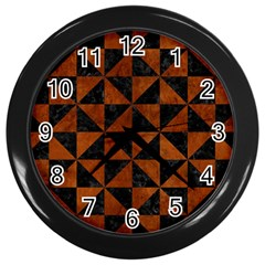 Triangle1 Black Marble & Brown Burl Wood Wall Clock (black) by trendistuff