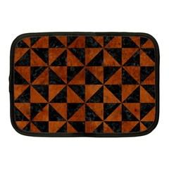 Triangle1 Black Marble & Brown Burl Wood Netbook Case (medium) by trendistuff