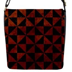 Triangle1 Black Marble & Brown Burl Wood Flap Closure Messenger Bag (s) by trendistuff