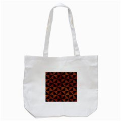 Triangle1 Black Marble & Brown Burl Wood Tote Bag (white) by trendistuff
