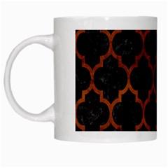 Tile1 Black Marble & Brown Burl Wood White Mug by trendistuff