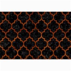 Tile1 Black Marble & Brown Burl Wood Collage 12  X 18  by trendistuff