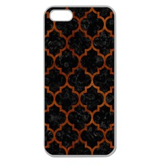 Tile1 Black Marble & Brown Burl Wood Apple Seamless Iphone 5 Case (clear) by trendistuff