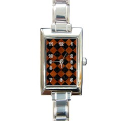 Square2 Black Marble & Brown Burl Wood Rectangle Italian Charm Watch