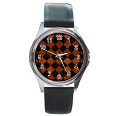 Square2 Black Marble & Brown Burl Wood Round Metal Watch
