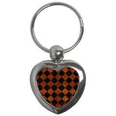Square2 Black Marble & Brown Burl Wood Key Chain (heart) by trendistuff