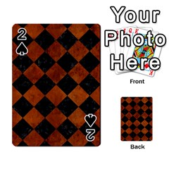Square2 Black Marble & Brown Burl Wood Playing Cards 54 Designs