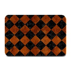 Square2 Black Marble & Brown Burl Wood Plate Mat by trendistuff