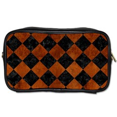 Square2 Black Marble & Brown Burl Wood Toiletries Bag (two Sides) by trendistuff