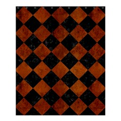 Square2 Black Marble & Brown Burl Wood Shower Curtain 60  X 72  (medium) by trendistuff