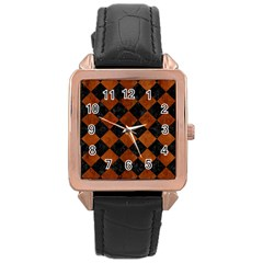 Square2 Black Marble & Brown Burl Wood Rose Gold Leather Watch  by trendistuff