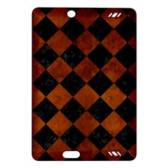 Square2 Black Marble & Brown Burl Wood Amazon Kindle Fire Hd (2013) Hardshell Case by trendistuff