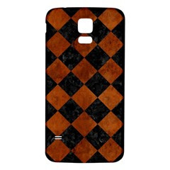Square2 Black Marble & Brown Burl Wood Samsung Galaxy S5 Back Case (white) by trendistuff