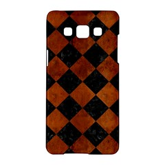 Square2 Black Marble & Brown Burl Wood Samsung Galaxy A5 Hardshell Case  by trendistuff
