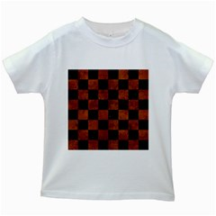 Square1 Black Marble & Brown Burl Wood Kids White T Shirt by trendistuff