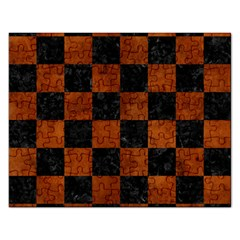 Square1 Black Marble & Brown Burl Wood Jigsaw Puzzle (rectangular) by trendistuff