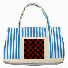 Square1 Black Marble & Brown Burl Wood Striped Blue Tote Bag by trendistuff
