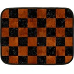 SQUARE1 BLACK MARBLE & BROWN BURL WOOD Double Sided Fleece Blanket (Mini) 35 x27 Blanket Back