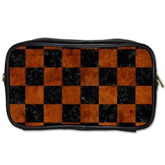 Square1 Black Marble & Brown Burl Wood Toiletries Bag (two Sides) by trendistuff