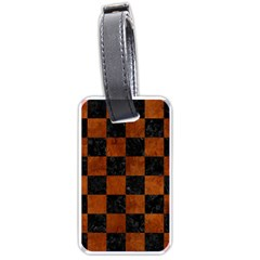 Square1 Black Marble & Brown Burl Wood Luggage Tag (two Sides)