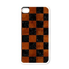 Square1 Black Marble & Brown Burl Wood Apple Iphone 4 Case (white) by trendistuff