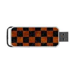 Square1 Black Marble & Brown Burl Wood Portable Usb Flash (two Sides) by trendistuff