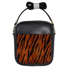 Skin3 Black Marble & Brown Burl Wood (r) Girls Sling Bag by trendistuff