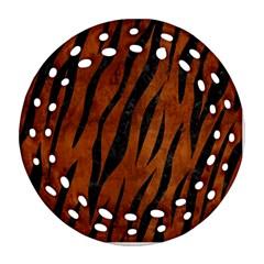 Skin3 Black Marble & Brown Burl Wood (r) Round Filigree Ornament (two Sides) by trendistuff