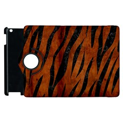 Skin3 Black Marble & Brown Burl Wood (r) Apple Ipad 2 Flip 360 Case by trendistuff
