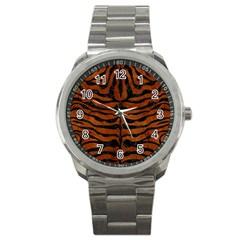 Skin2 Black Marble & Brown Burl Wood (r) Sport Metal Watch by trendistuff