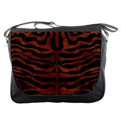 Skin2 Black Marble & Brown Burl Wood Messenger Bag by trendistuff