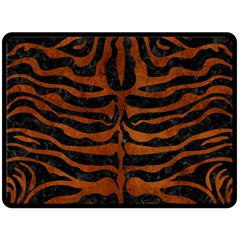 Skin2 Black Marble & Brown Burl Wood Double Sided Fleece Blanket (large) by trendistuff