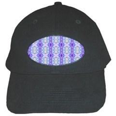 Light Blue Purple White Girly Pattern Black Cap