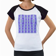 Light Blue Purple White Girly Pattern Women s Cap Sleeve T