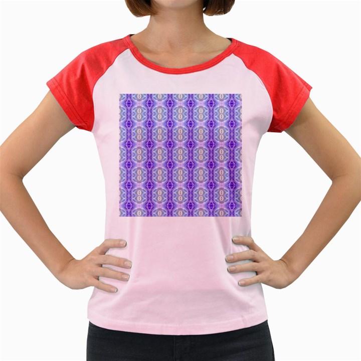 Light Blue Purple White Girly Pattern Women s Cap Sleeve T-Shirt