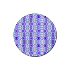 Light Blue Purple White Girly Pattern Rubber Coaster (round)  by Costasonlineshop