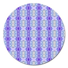 Light Blue Purple White Girly Pattern Magnet 5  (round) by Costasonlineshop