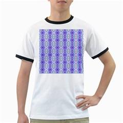 Light Blue Purple White Girly Pattern Ringer T Shirts by Costasonlineshop