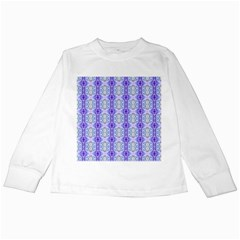Light Blue Purple White Girly Pattern Kids Long Sleeve T-Shirts by Costasonlineshop
