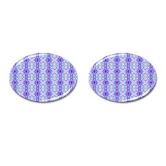 Light Blue Purple White Girly Pattern Cufflinks (oval) by Costasonlineshop