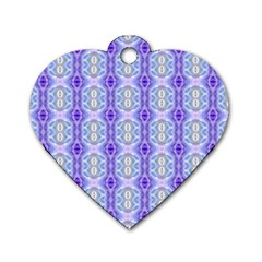 Light Blue Purple White Girly Pattern Dog Tag Heart (one Side) by Costasonlineshop