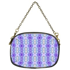 Light Blue Purple White Girly Pattern Chain Purses (one Side)  by Costasonlineshop